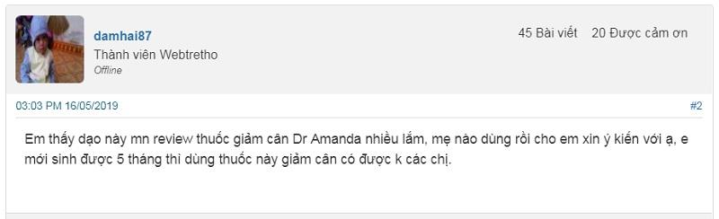 Thuốc giảm cân Dr Amanda có tốt không? Người tiêu dùng lên tiếng, thuốc giảm cân Dr Amanda có tốt không, Dr Amanda giảm cân có tốt không