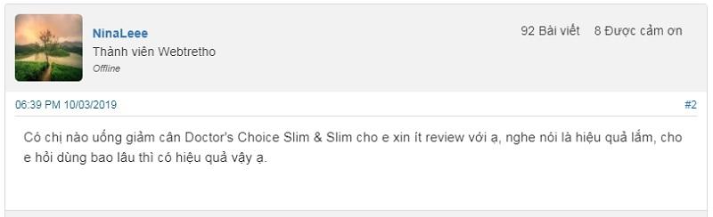 doctor's choice slim & slim review,thuốc giảm cân doctor's choice slim & slim,doctor's choice slim & slim có tốt không,doctor's choice slim & slim giá bao nhiêu