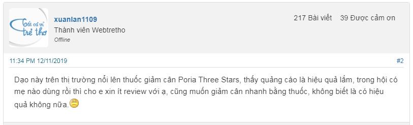 thuốc giảm cân poria three stars có tốt không, giá thuốc giảm cân poria three stars, thành phần thuốc giảm cân poria three stars, thuốc giảm cân poria three stars có công dụng gì, cách sử dụng thuốc giảm cân poria three stars, review thuốc giảm cân poria three stars, thuốc giảm cân poria three stars có an toàn không